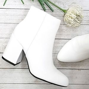 New White Chunky Heel Short Ankle Boots Booties